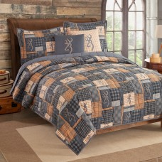 Buckmark Patch Quilt and Sham Set - Twin