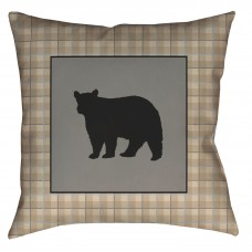 Bear Square Pillow - 20x20 - Tan Plaid with Bear